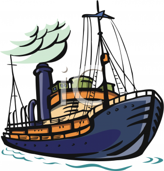 Clip Art Illustration of a Cruise Ship On the Ocean.