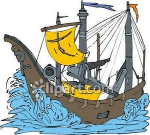 Pirate Ship on Rough Water Royalty Free Clipart Picture.