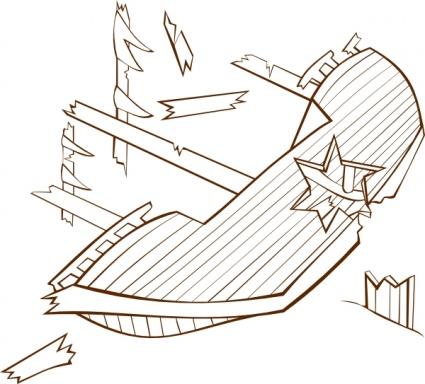 Ship wreck clipart #8