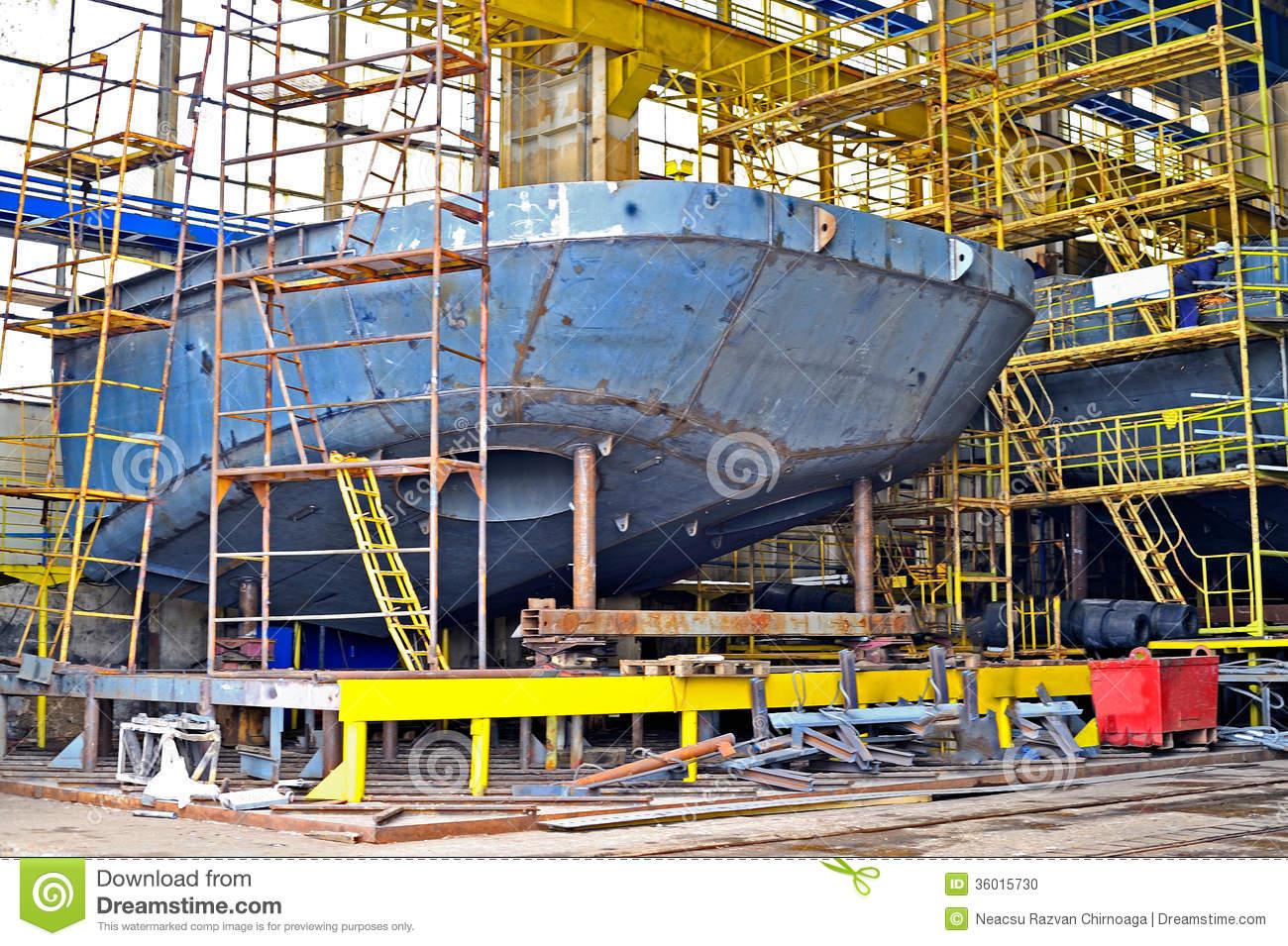 Ship Building Stock Photo.