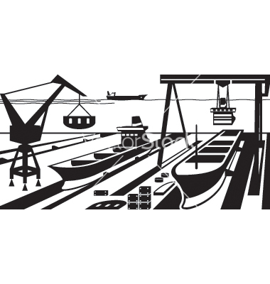 Shipbuilding with docks and cranes vector by angelha.