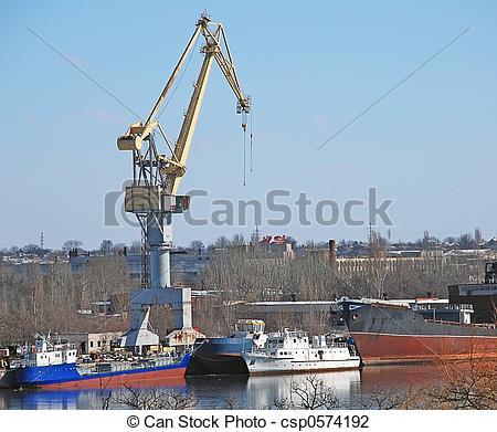 Stock Photo of shipbuilding crane.