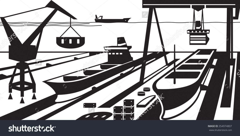 Shipbuilding Docks Cranes Vector Illustration Stock Vector.