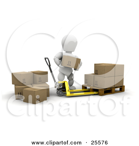 Clipart Illustration of a White Character Stacking Cardboard Boxes.