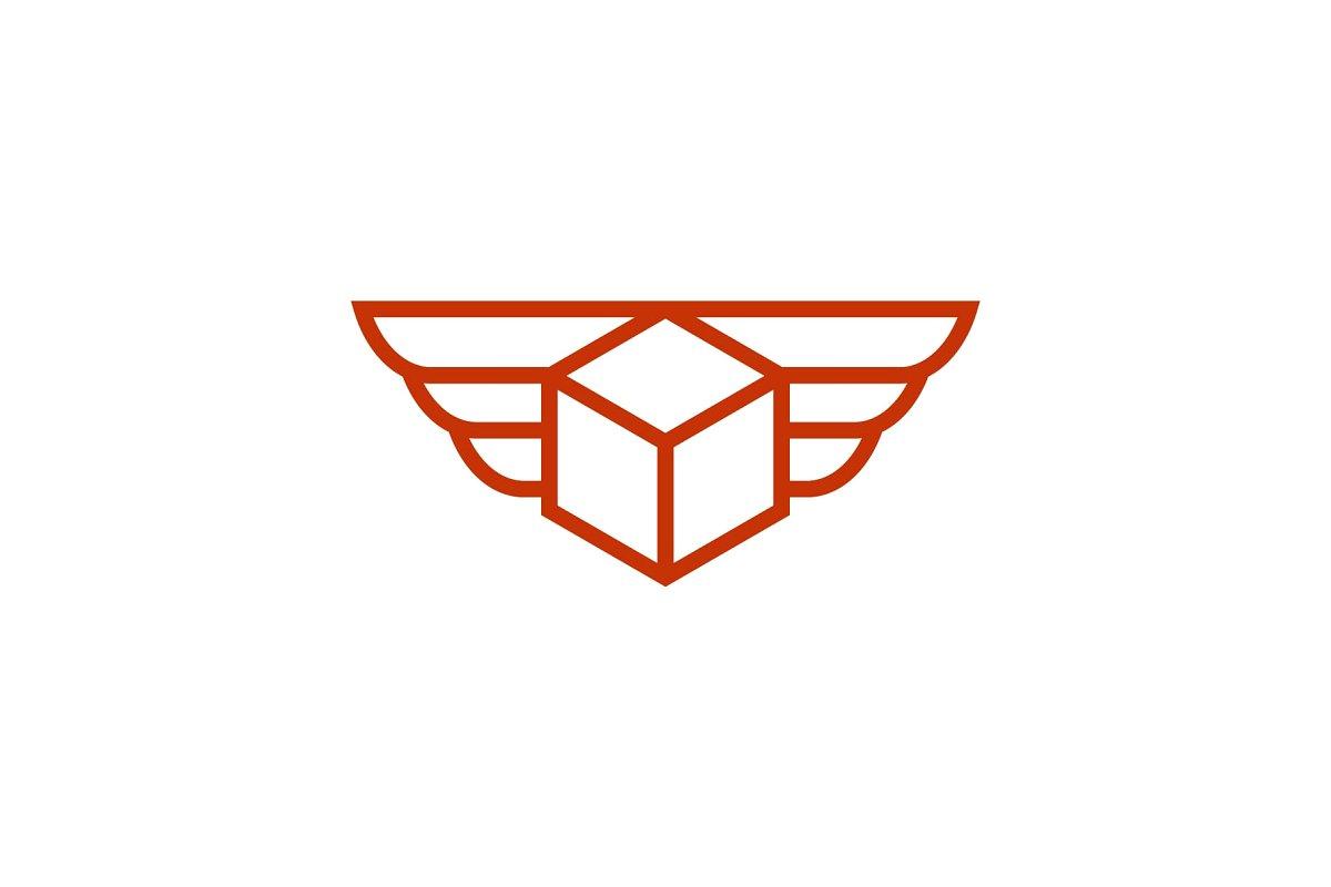 flying shipment package logo.