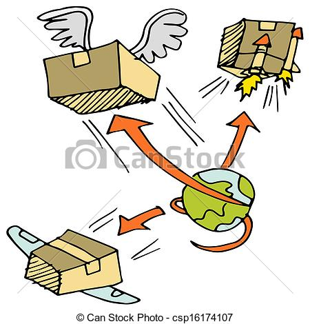 Vector Clipart of Global Shipping Icon Set.