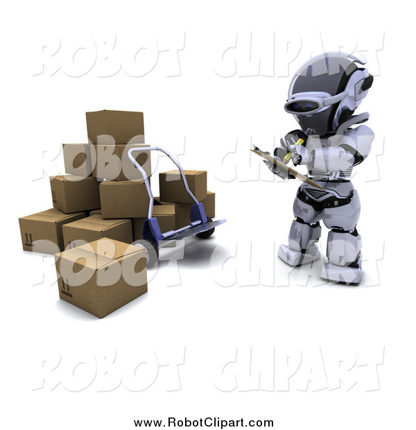 Clipart of a 3d Robot Writing down Shipments by KJ Pargeter.