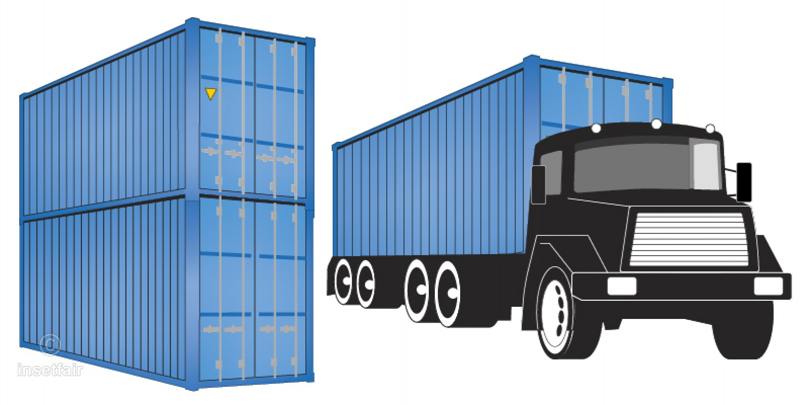Shipping container lorry free clipart illustration.