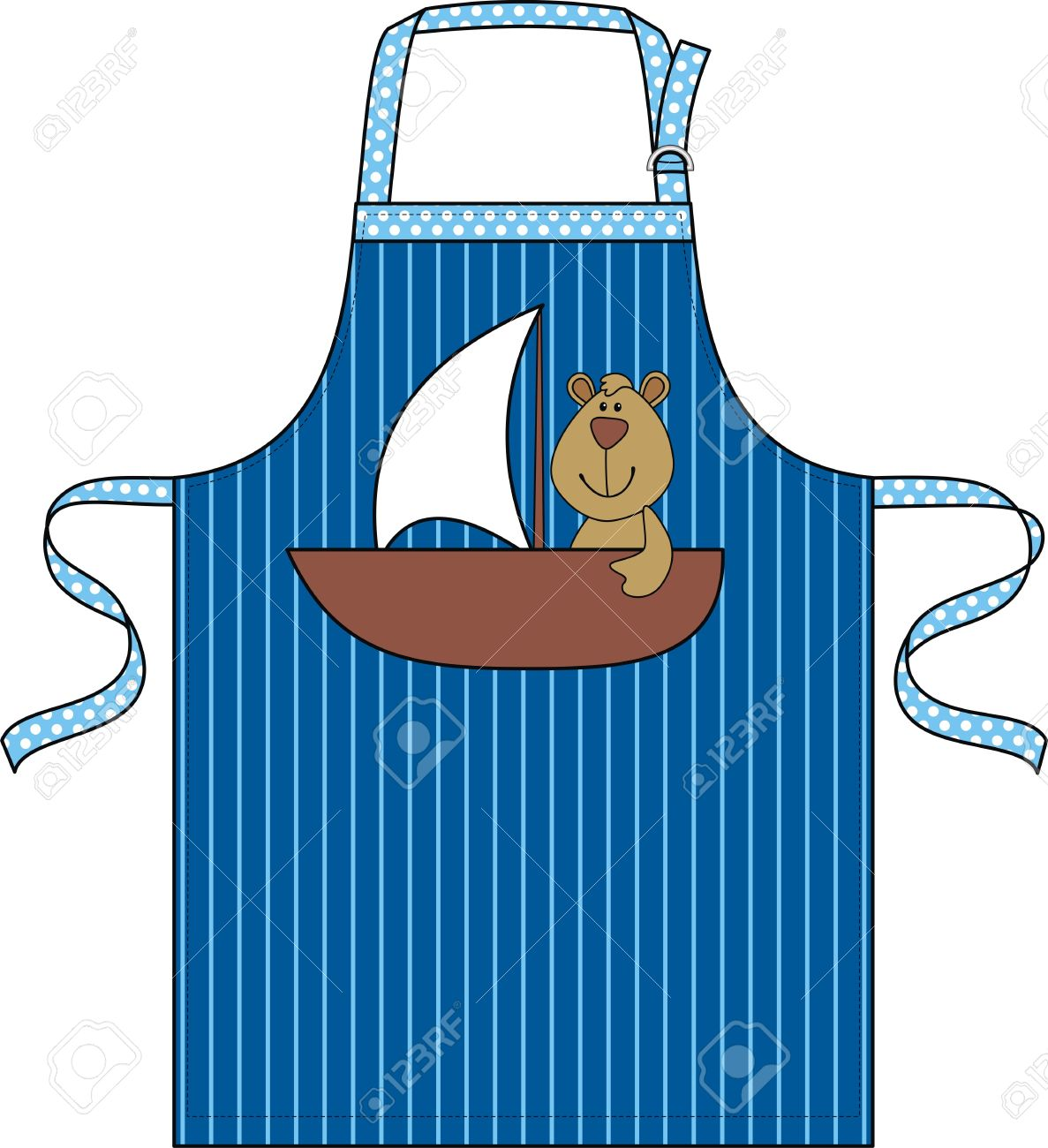 Apron For The Child With A Pocket In The Form Of A Ship With.