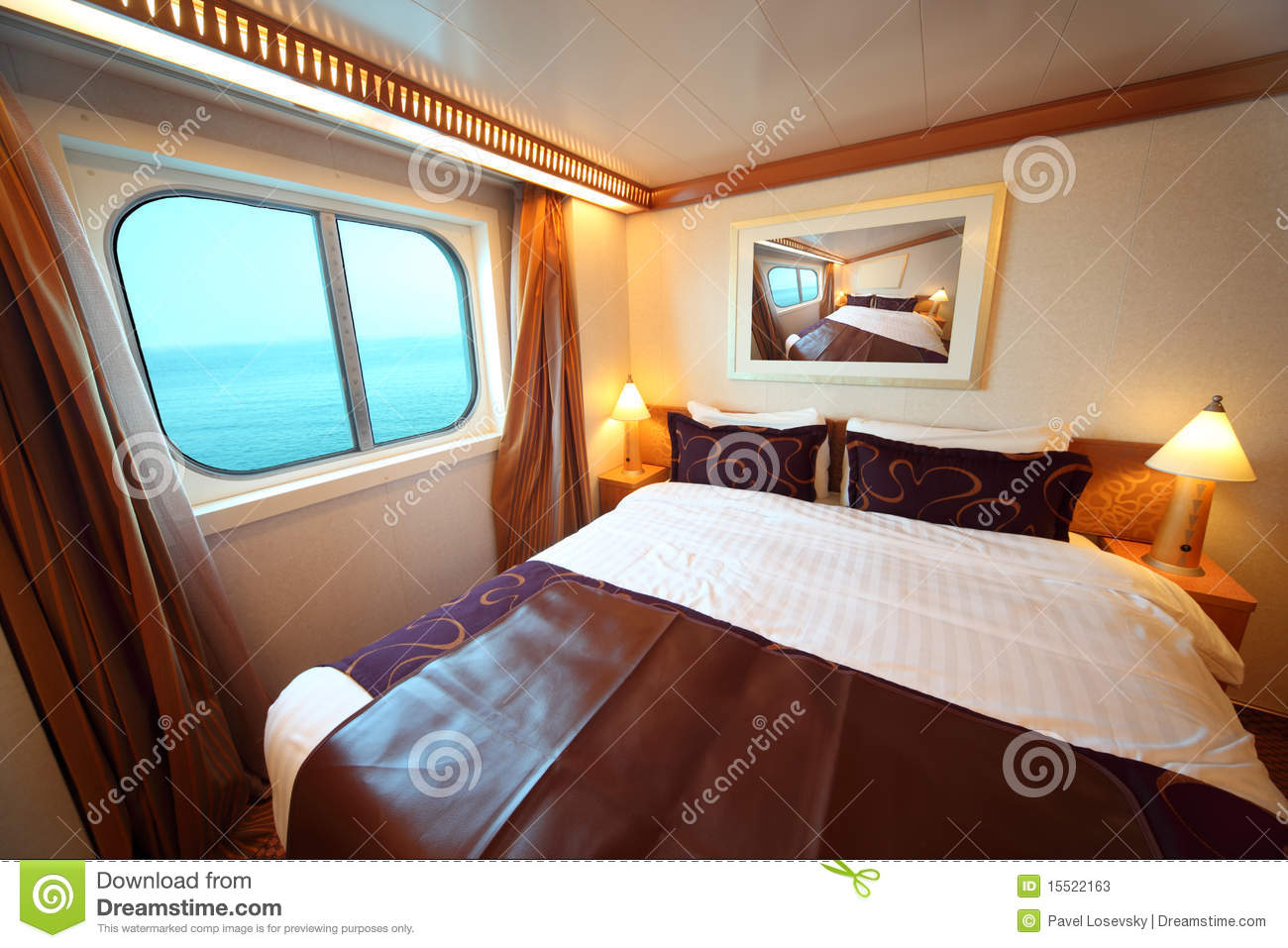 Ship Cabin With Bed And Window With View On Sea Stock Photos.