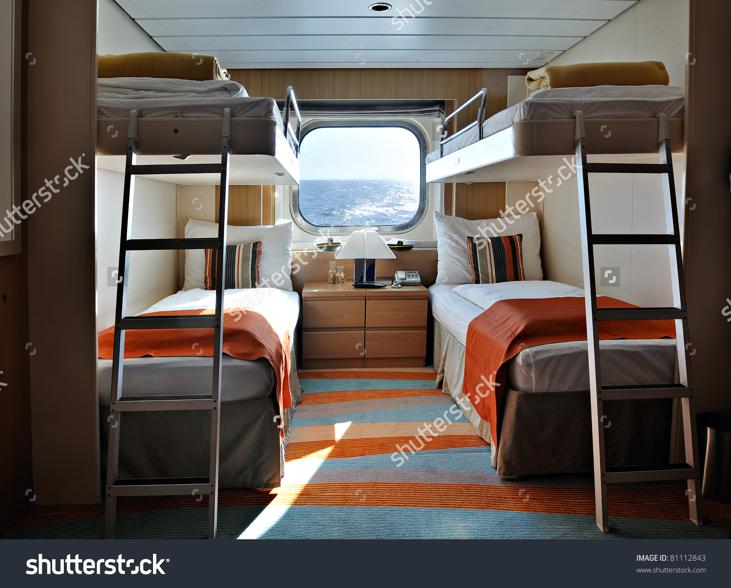 Interior Living Cabin On Cruise Ship Stock Photo 81112843.