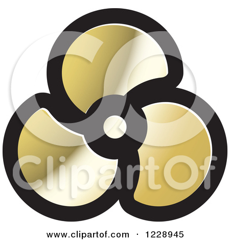 Clipart of a Black Silver and Gold Propeller Icon.
