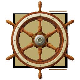 Ship, wheel icon.