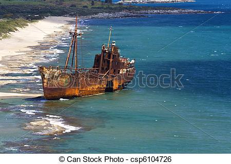 Stock Image of Selinitsa shipwreck beach at Greece.