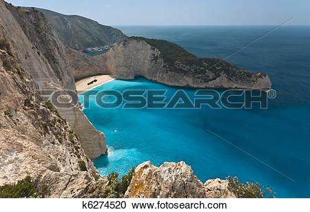 Stock Photography of The Shipwreck beach at Zakynthos k6274520.