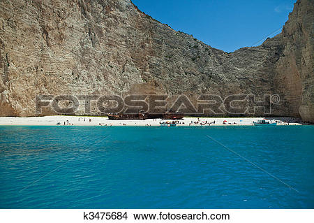 Stock Photo of Shipwreck beach in Zakynthos Island, Greece.