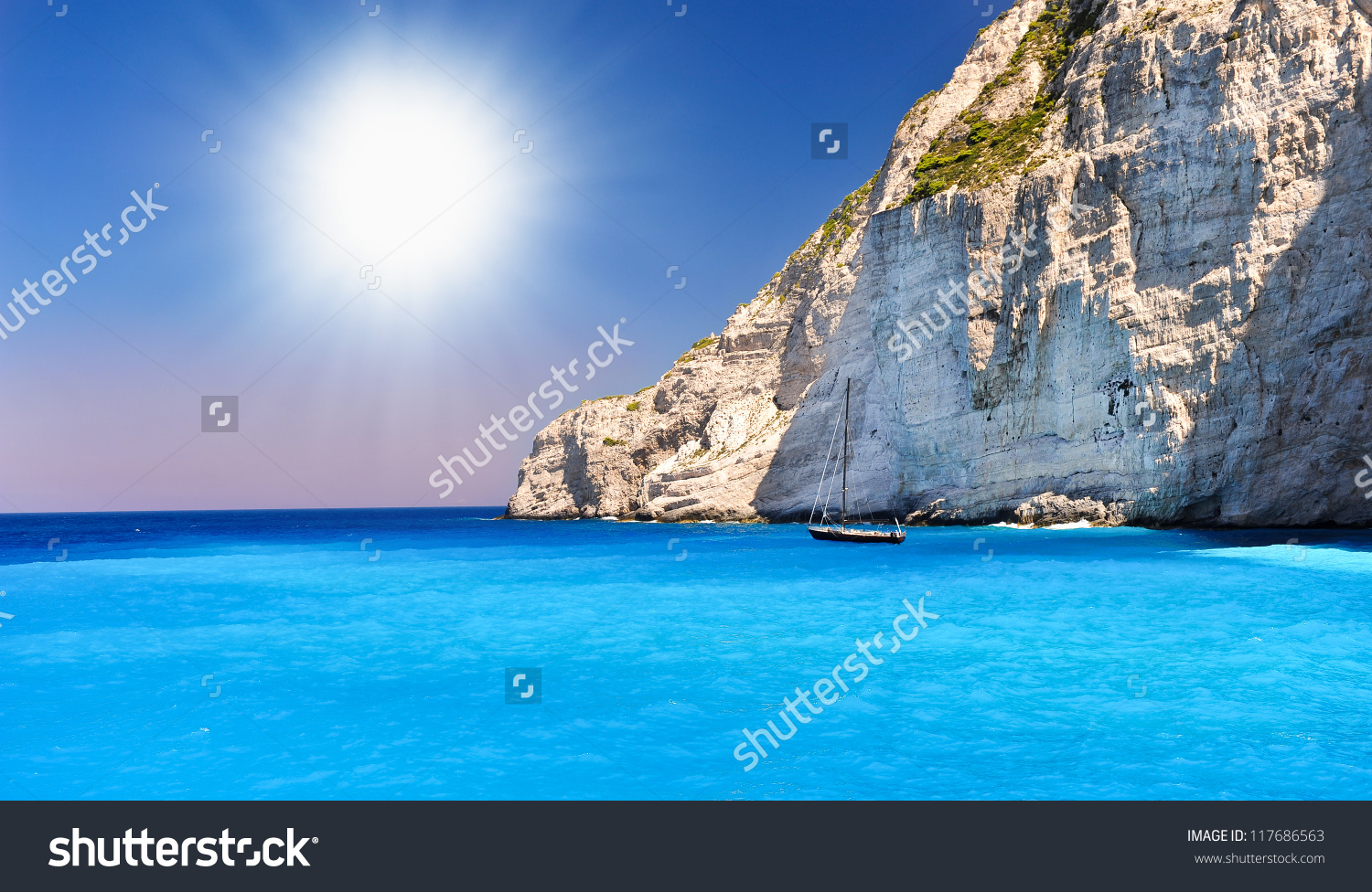 Boat Anchored On Navagio Beach Also Stock Photo 117686563.