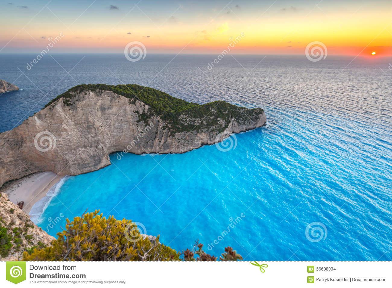 Shipwreck Beach At Sunset On Zakynthos Island Stock Photo.