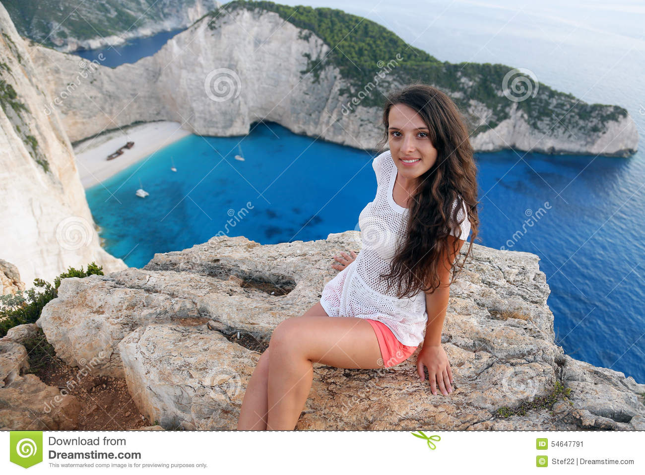 Beautiful Tourist At Navagio Beach, Zakynthos Island, Greece Stock.