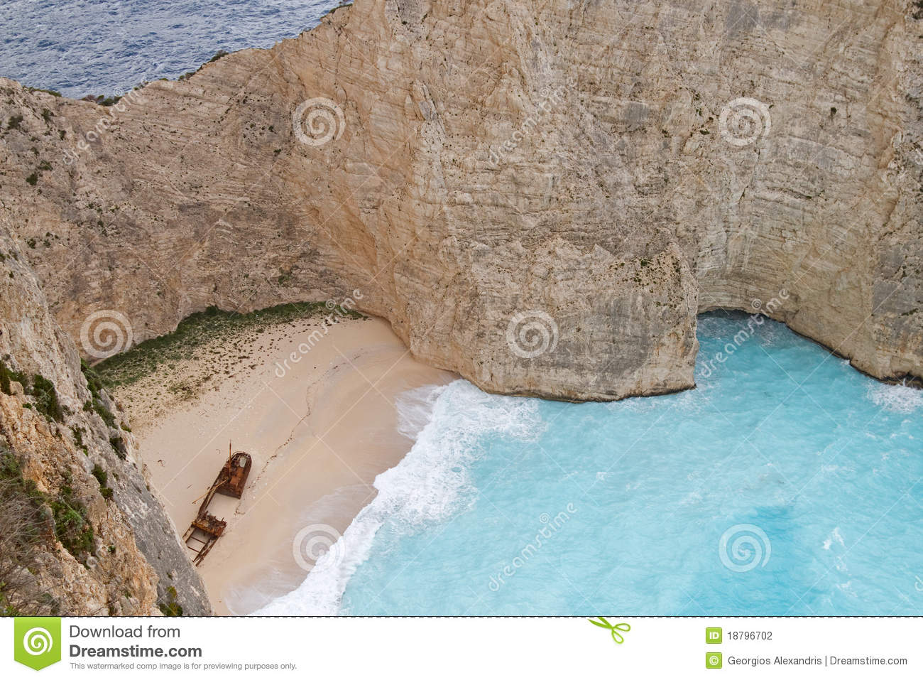 Shipwreck Beach, Zakynthos Island Stock Photography.