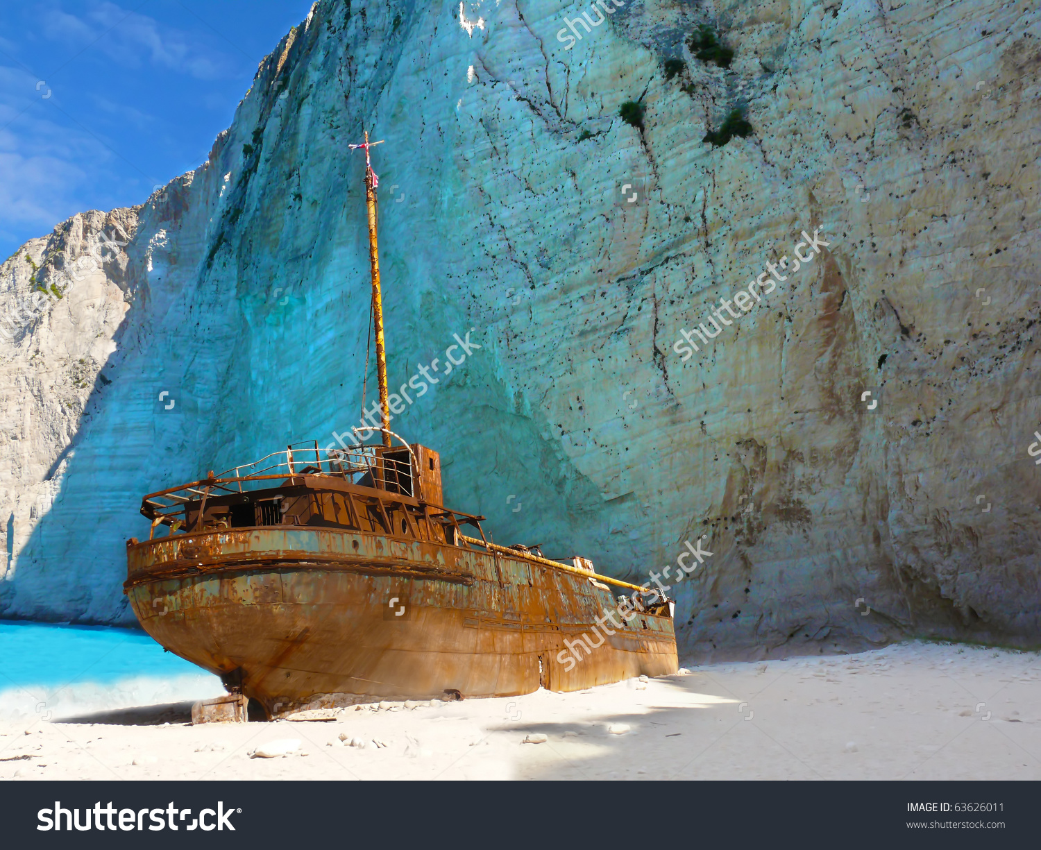 Ship Wreck On Navagio Beach Zakynthos Stock Photo 63626011.