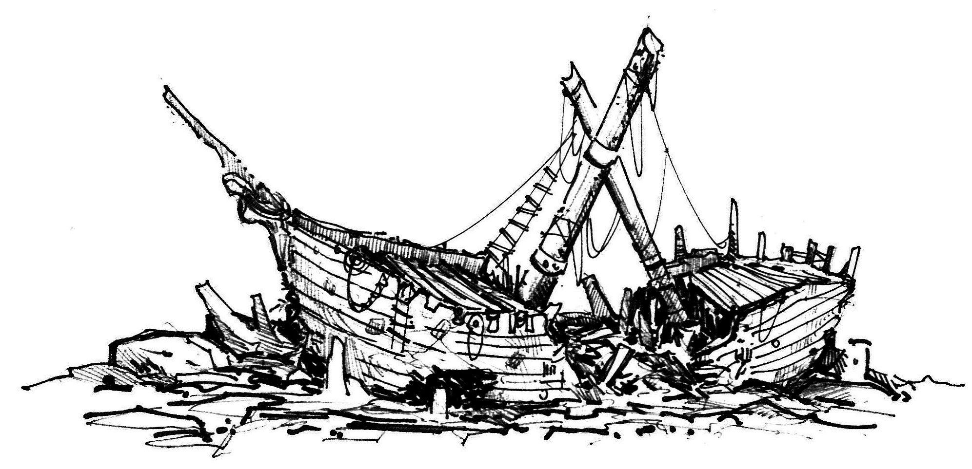 Image result for shipwreck drawing.