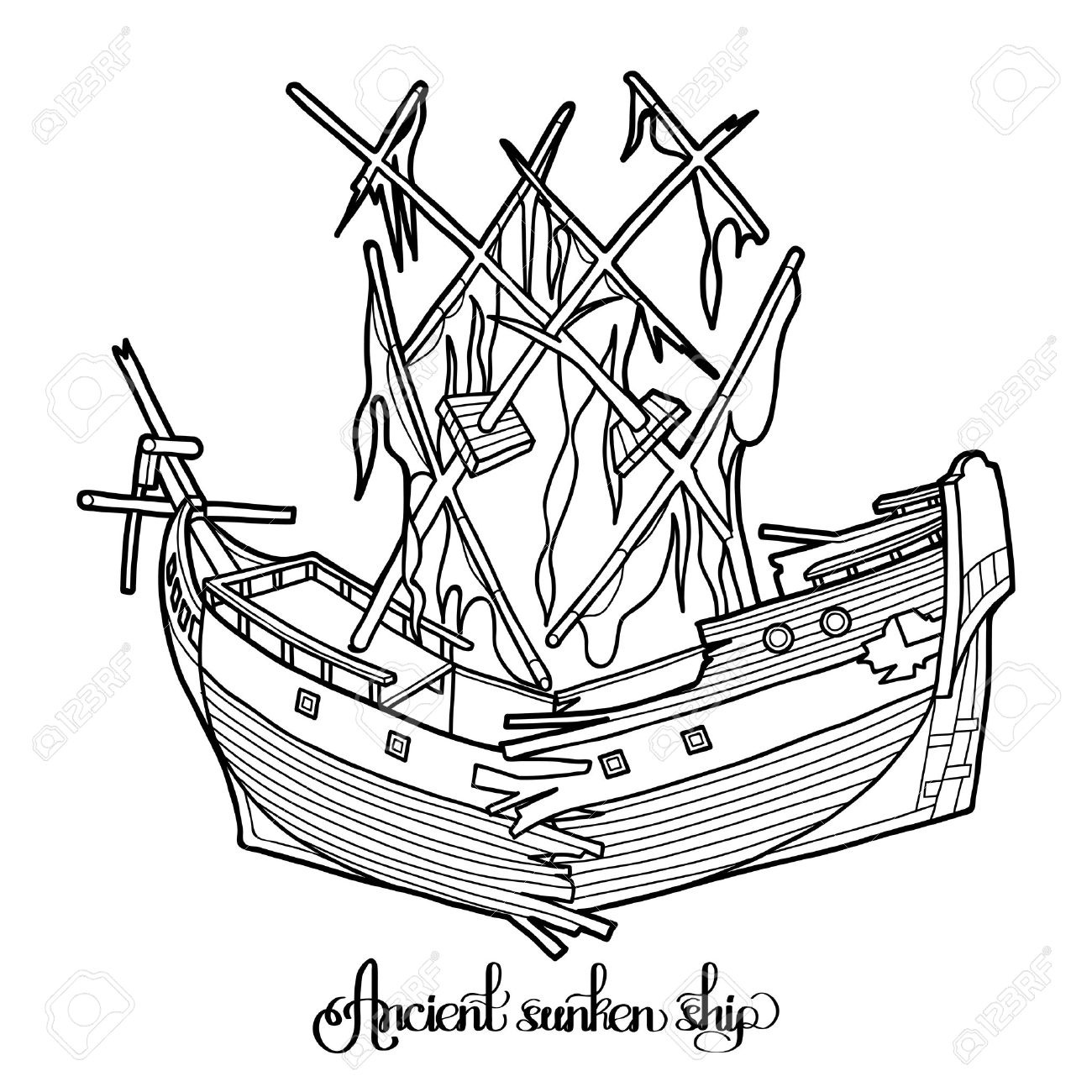 Boats clipart shipwrecked.