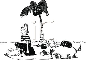 Royalty Free Clipart Image: Black and White Cartoon of a.