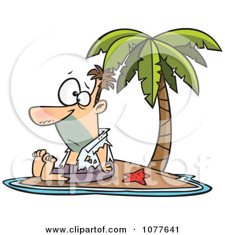 Clipart Shipwrecked Man On A Tropical Island.