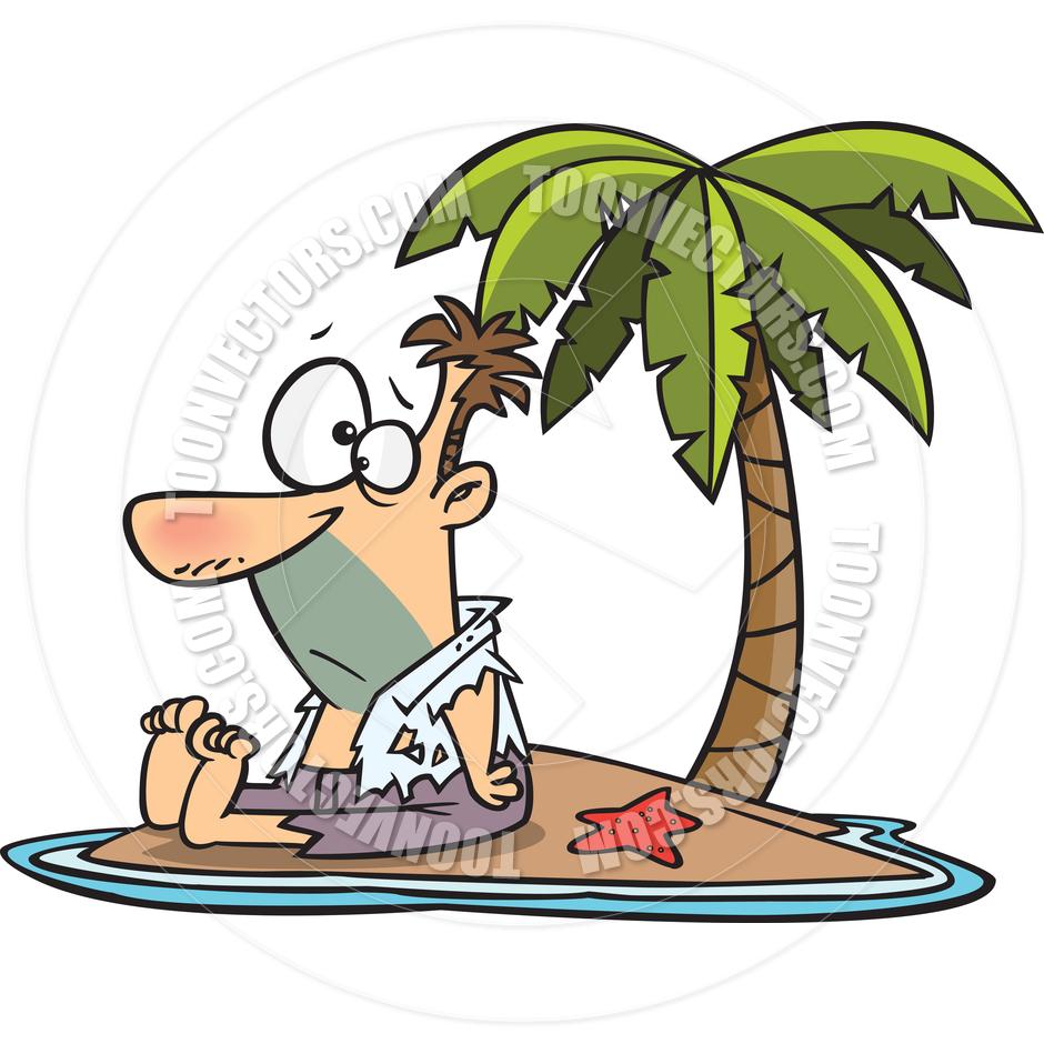 Cartoon Man Shipwrecked on Island by Ron Leishman.