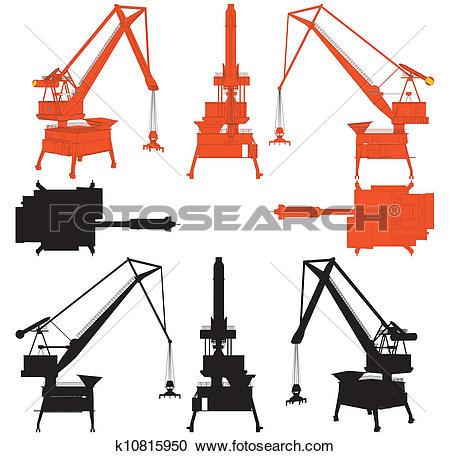 Clipart of Shipyard Crane k10815950.