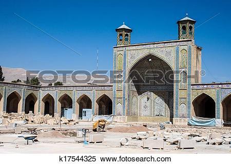 Stock Image of Vakil mosque under reconstruction, Shiraz, Iran.