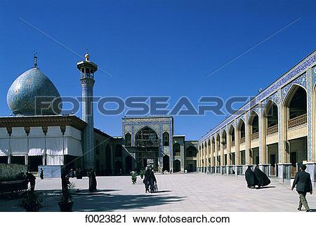 Stock Photography of Iran, Fars, Shiraz, Shah Cheragh Mausoleum.
