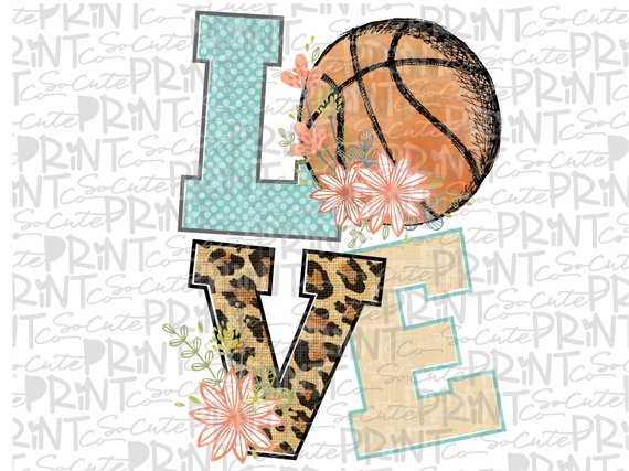 Basketball mom clipart, basketball love flowers, transparent.