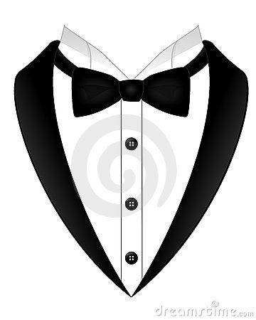 An Illustration Of A Black Bow Tie White Shirt And Tuxedo.