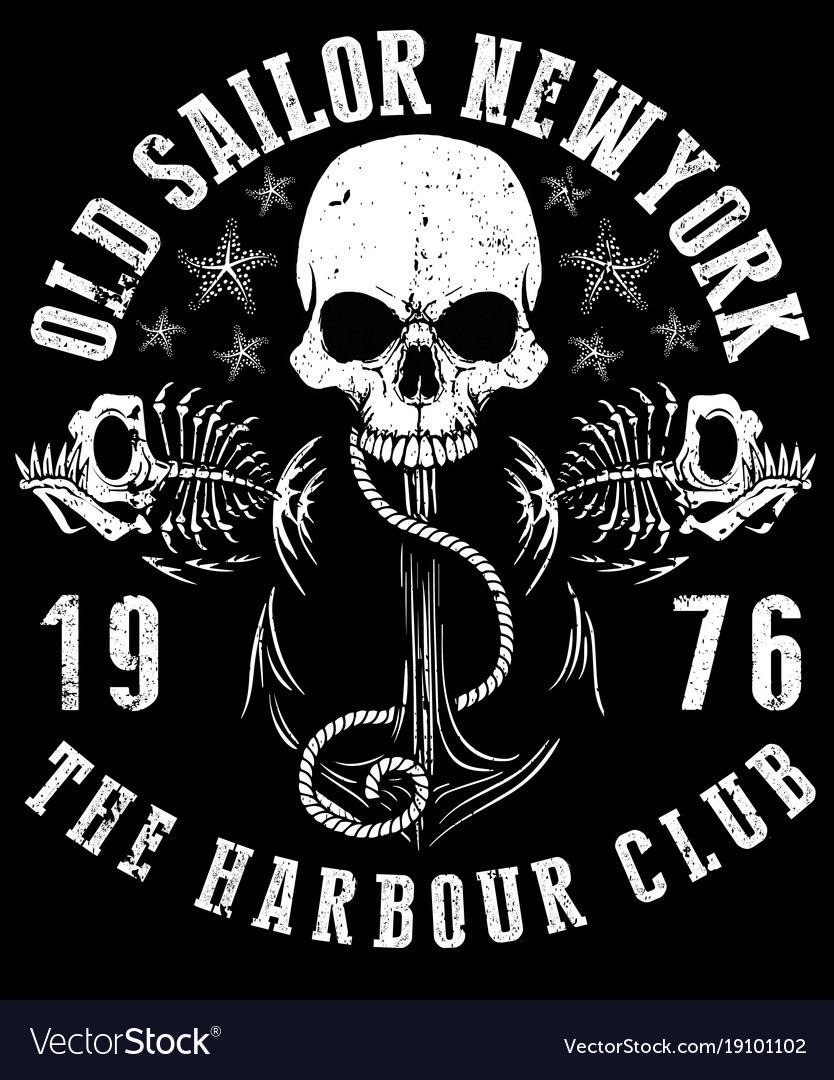 Sailor skull t shirt graphic design.