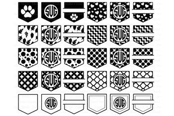 Pocket Patterns SVG, Shirt Pocket Monogram SVG files..