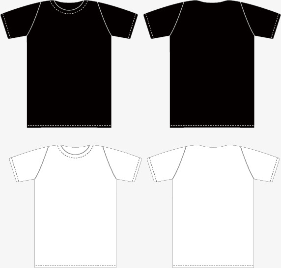 Vector Black And T Shirt Template Front And Back, Black, , T.