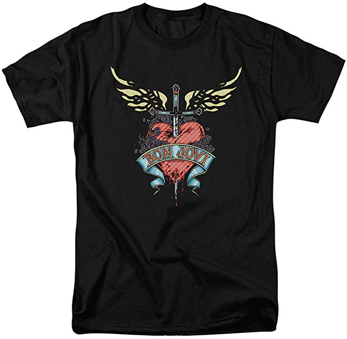 Bon Jovi Logo Heart and Dagger Band T Shirt & Stickers.