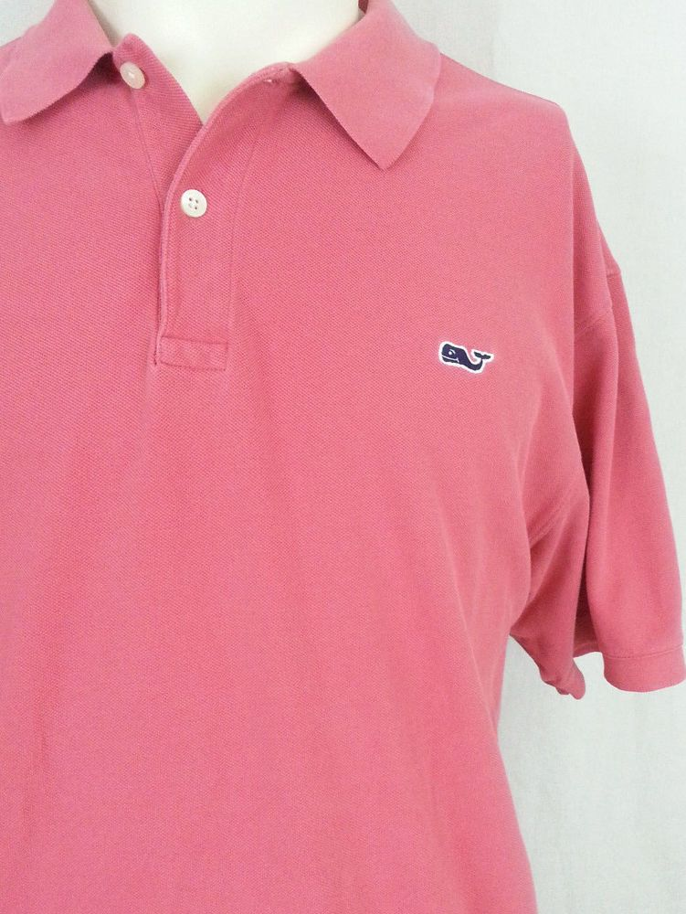 Vineyard Vines Pink Whale Logo Short Sleeve Men\'s Golf Polo.