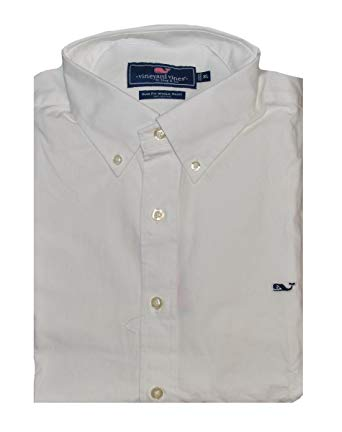 Vineyard Vines Slim Fit Whale Shirt (Solid White Cap, X.
