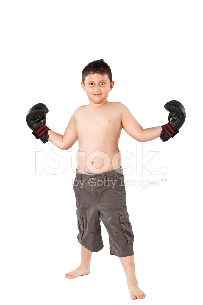 Shirtless Overweight Boy Wearing Boxing Gloves on White.