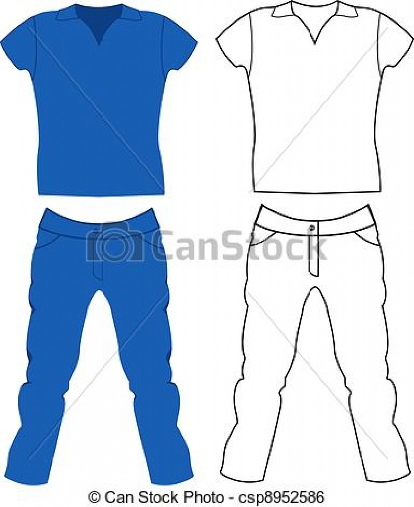 clip art vector of jeans and t shirt mens clothing csp8952586.