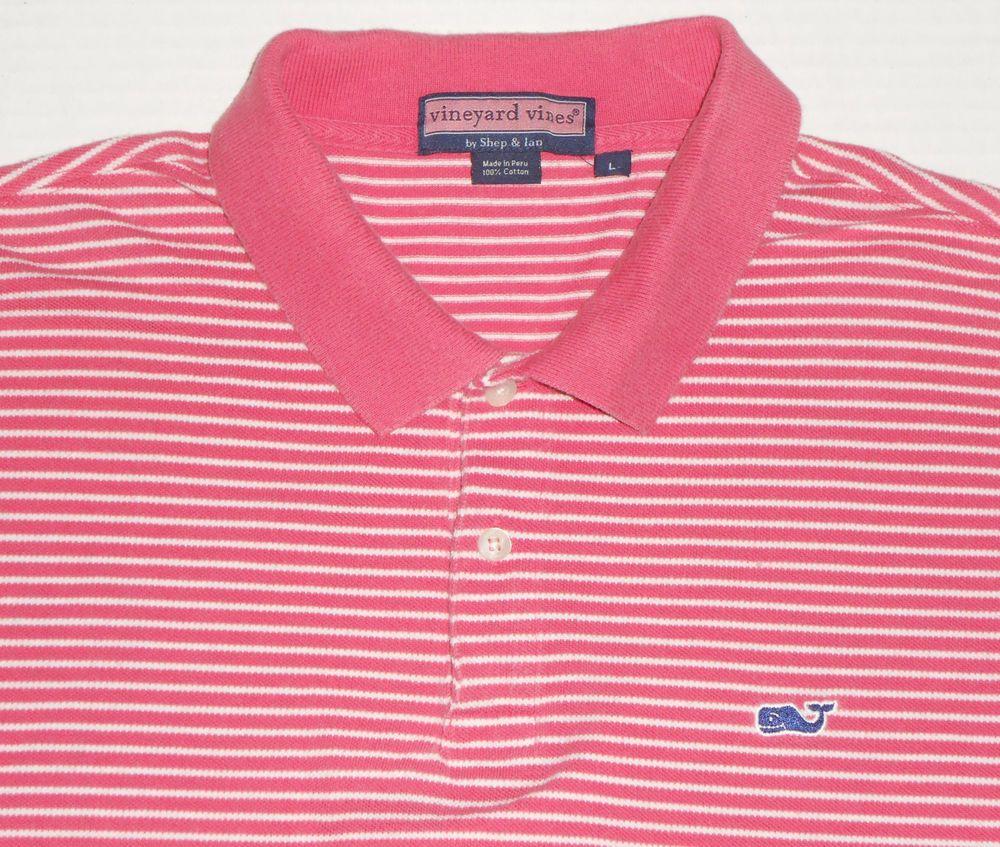 VINEYARD VINES Men\'s Pink Striped Ringer Polo Golf Shirt L.
