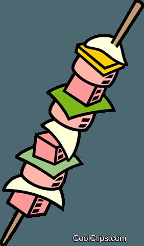 Shish kebab Royalty Free Vector Clip Art illustration.