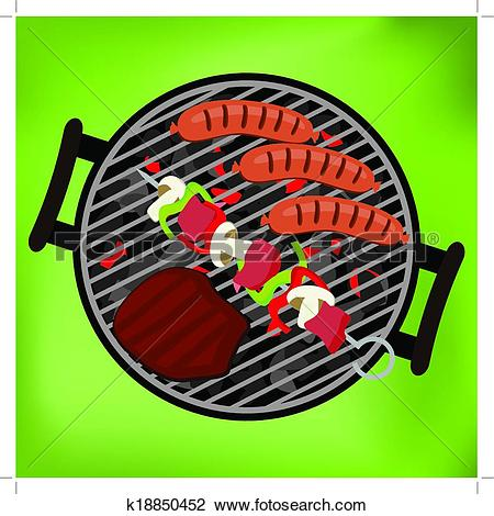 Clipart of BBQ with steak, sausages and shish kebab on green.