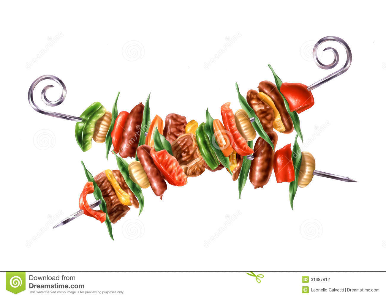 Skewers Stock Illustrations.