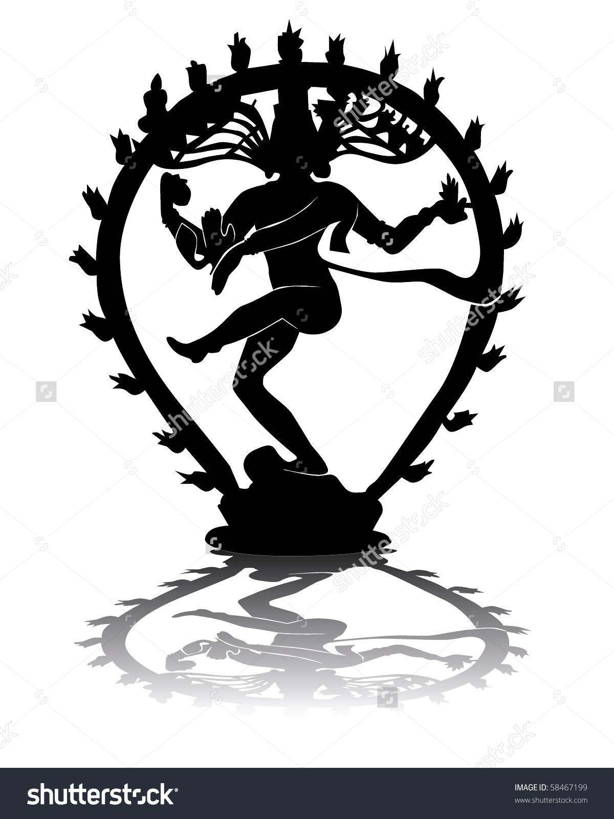 Shiva silhouette clipart.