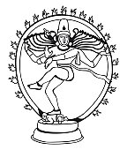 Black And White Illustration Of Shiva Nataraja In Wheel Of Fire.
