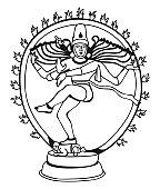 Black And White Illustration Of Shiva Nataraja In Wheel Of Fire.